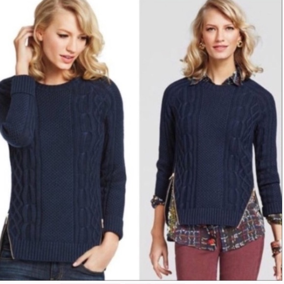 CAbi Navy Blue Zipper Cable Knit Sweater